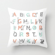 Cute Animal Alphabet Pillows Decorative Throw Pillow Covers 18 x 18 Zippered Cushion Covers for Couch