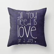 All You Need is Love or a Dog Throw Pillows Decorative Pillow Covers 18 x 18 Valentine's Day Gifts