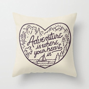 Adventure is Where Your Heart is Throw Pillow Case with Sayings Pillow Covers 18 x 18 Valentine's Day Gifts for Her Girlfriend Boyfriend Anniversary Gifts