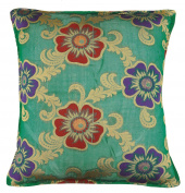 Green Brocade Throw Sofa Cushion Covers Square Solid Pillow Case Pillow Cover 41cm X 41cm Inches