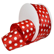 Morex Ribbon 7420.60/50-609 French Wired Holiday Dots Polyester Ribbon, 6.4cm /50 yd., Red/White