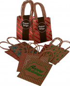 Kraft Holiday Gift Bags, foil hot-stamp designs, 24 Small bags in assorted Christmas prints