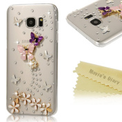 Galaxy S7 Edge Case (Not for S7)- Mavis's Diary 3D Handmade Bling Crystal Lovely Butterfly Flowers with Shiny Sparkle Rhinestone Diamonds Design Clear Hard PC Cover for Samsung Galaxy S7 Edge