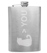 Cat Greater Than You Cat Lover 240ml Stainless Steel Flask - Hand Etched - Made in the USA, Great for gifts