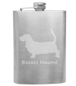 Basset Hound Breed Love 240ml Stainless Steel Flask - Hand Etched - Made in the USA, Great for gifts