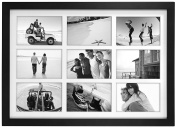 Malden International Designs Matted Linear Classic Wood Picture Frame, 9 Option, 9-4x6, Black