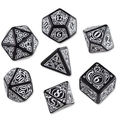 Steampunk Dice Black/White 7 Stk. Board Game ,#G14E6GE4R-GE 4-TEW6W274899