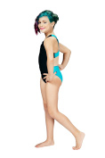 Topsport Girls Y-Back Xtra Lycra One Piece Performance Swimsuit Black and Turquoise