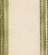 Entertaining with Caspari Ivory with Gold Edge Ribbon, 3.8cm x 8 Yards, 1-Roll