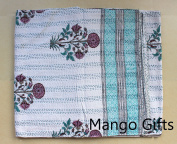 Mango Gifts Pure Cotton Kantha Style Queen Size Patchwork Quilt Bed Spread, Indian Hand-Block Print Gudri Vintage Throw
