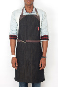 Under NY Sky No-Tie Apron - Black Oak Denim - Brown Leather - Split-Leg