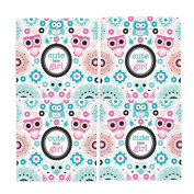 Naanle Adorable Vintage Owl and Pastel Flowers Washable Placemats 30cm X 30cm Set of 4 Place Mats for Dining Table