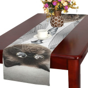 D-Story Funny Fluffy Cat In A Business Suit Table Runner 41cm x 180cm For Dinner Parties Events Home Decor