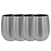 Doinshop 270ml Double Wall Stainless Steel Stemless Wine Glasses Cocktail Cup