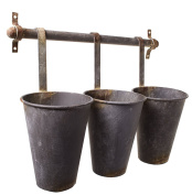 Rustic Tin Pots 3 Hanging Wall Flower Cup Baskets on a Rack