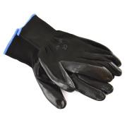 27cm Nitrile Coated Work Gloves (1 Pair) Breathable / Improved Grip Black TE936
