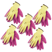 18cm Builders Protective Gardening DIY Latex Rubber Coated Work Gloves Pink x 5