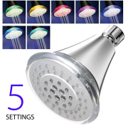 AquaDance® High-Pressure 5-Setting 7-Colour LED Shower Head. Latest Modern Contemporary Sleek Design. Powered by Running Water, No Batteries Ever Needed!