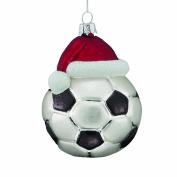7.6cm NOBLE GEMS GLASS SOCCER ORNAMENT W/SANTA HAT.