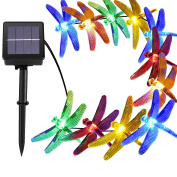 [6.4m 30 Led] Solar Outdoor Dragonfly Lights \ Outside String Lighting , 8 Mode (Steady, Flash), Waterproof, Fairy Decorations for Patio, Garden, Yard, Fence, Christmas Tree, Holiday