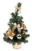 Small Artificial Christmas Tree with Gold Bows and Ornaments - 41cm Tall