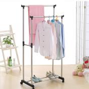 IKAYAA Adjustable Double Rail Garment Hanging Clothes Rack Heavy Duty on Wheels