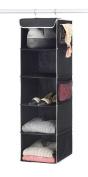 "Zober 5-Shelf Hanging Closet Organiser - 6 Side Mesh Pockets Breathable Polypropylene Hanging Shelves - for Clothes Storage and Accessories, (Black) 30cm x 11 ½ "" x 110cm"