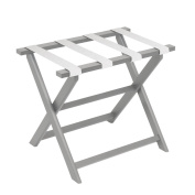 Gate House Furniture Light Grey Eco-Poly Folding Luggage Rack with White Weave Straps