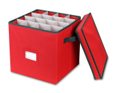 Primode Holiday Ornament Storage Box, 4 Layers, Fits 64 Ornaments Balls, Red