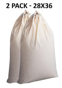 Cotton Craft - 2 Pack Extra Large 100% Cotton Canvas Heavy Duty Laundry Bags - Natural Cotton - 70cm x 90cm