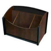 Artistic Dual-Tone Sustainable Bamboo Desk Organiser Espresso, Brown Black