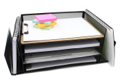 EasyPAG Mesh Desk Letter Tray Office File Organiser 4 Horizontal and 2 Upright Sections Black