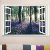 3D Landscape Painting Window View Wall Sticker Purple Lavender Forest Tree Sticker