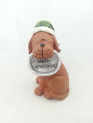 Tii Collections - 15cm Resin Dog with Hat and Food Bowl, Reads