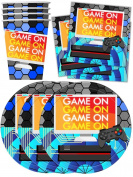 Video Gaming Game On Birthday Party Supplies Set Plates Napkins Cups Tableware Kit for 16