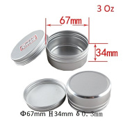 Healthcom 90ml 15 Packs Round Aluminium Tin Cans Screw Top Metal Steel Tins Empty Slip Slide Round Containers Bulk Storage Organisation for Lip Balm,Crafts,Cosmetic,Candles