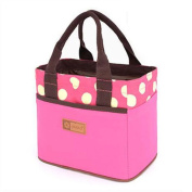 Muitifunction Canvas Bento Lunch Bag for Picnic Travel Tote Lunch Bag with Rope Belt Stylish Rose Dot