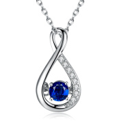 Caperci Sterling Silver Created Blue Sapphire Diamond Accent Infinity Pendant Necklace for Women, 46cm