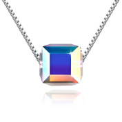 PLATO H 925 Sterling Silver Cubic Pendant Necklace Christmas Gift for Her, 46cm