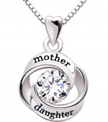 ALOV Jewellery Sterling Silver mother and daughter Love Cubic Zirconia Pendant Necklace