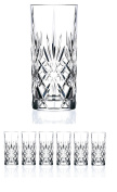 Set of 6 CRYSTAL HIGHBALL Durable Drinking glasses Limited Edition Glassware Drinkware Cups/coolers