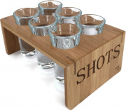 Vintage Bamboo Shot Glass Holder With 6 Crystal Clear Shot Glasses 30ml By Trendy Bartender™ Glassware and Shot Stand for Home - Professional or Amateur Bartenders