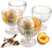 Palais Glassware 'Crème Glacée', Clear Glass, Ice Cream Dessert Bowls - Set of 4 - 270ml