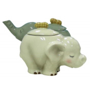 7.6cm White and Brown Ceramic Elephant Figurines For Cream and Sugar