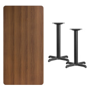 Flash Furniture 80cm x 150cm Rectangular Walnut Laminate Table Top with 60cm x 60cm Table Height Bases [XU-WALTB-3060-T2222-GG]
