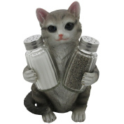 Grey Kitty Cat Glass Salt and Pepper Shakers with Holder Sculpture in Pet Figurines & Statues and Decorative Kitten Bar or Dining Room Table Decor Gifts for Pet Owners