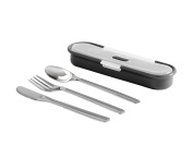 BUILT NY Gourmet Bento 4-Piece Stainless Steel Utensil Set With Nesting Case, Black And Grey