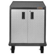 Premier Series Pre-Assembled Storage Organiser 90cm H x 70cm W x 60cm D Steel 2-Door Rolling Storage Cabinet for Garage in Silver Tread