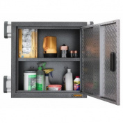 Premier Series Pre-Assembled Garage Storage Wall Mount Cabinet Metal in Silver Tread Black 60cm H x 60cm W x 30cm D