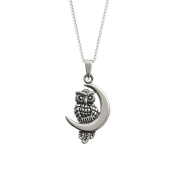Boxed Sterling Silver Owl And Moon Pendant On 46cm Chain